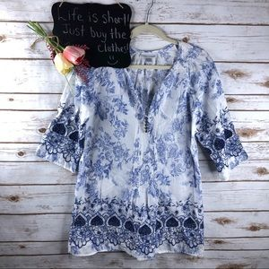 Soft Surroundings floral crochet embroidered top